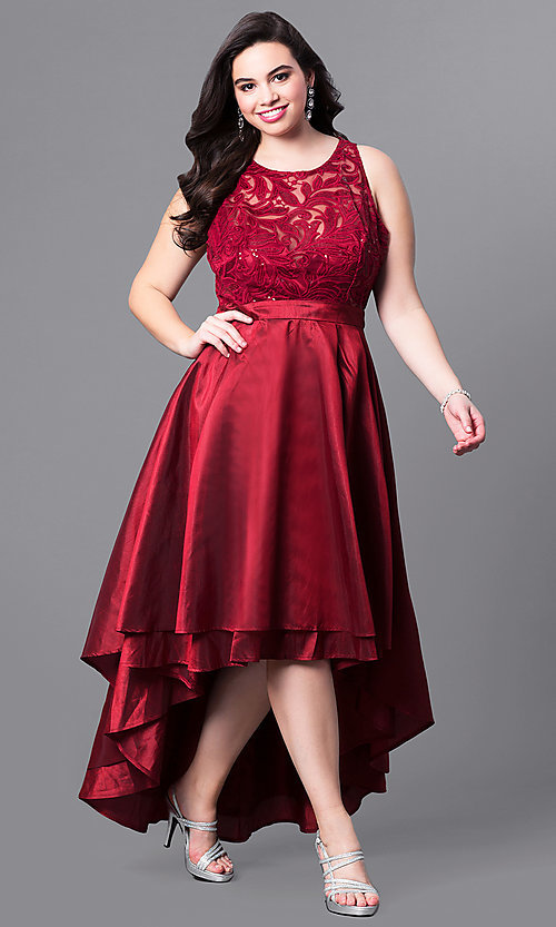 Image of plus-size high-low prom dress with illusion lace. Style: LP-24048P Detail Image 2