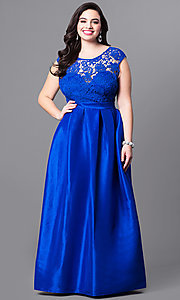 Plus Size Scoop Neck Lace Bodice Prom Dress