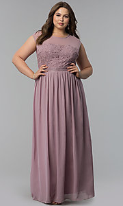 Long Plus-Size Cap-Sleeve Prom Dress with Lace Bodice