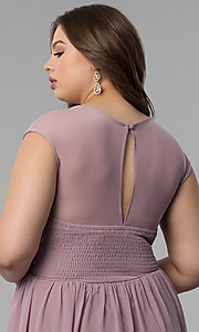 Image of long plus-size cap-sleeve prom dress with lace bodice. Style: LP-23397P Detail Image 2
