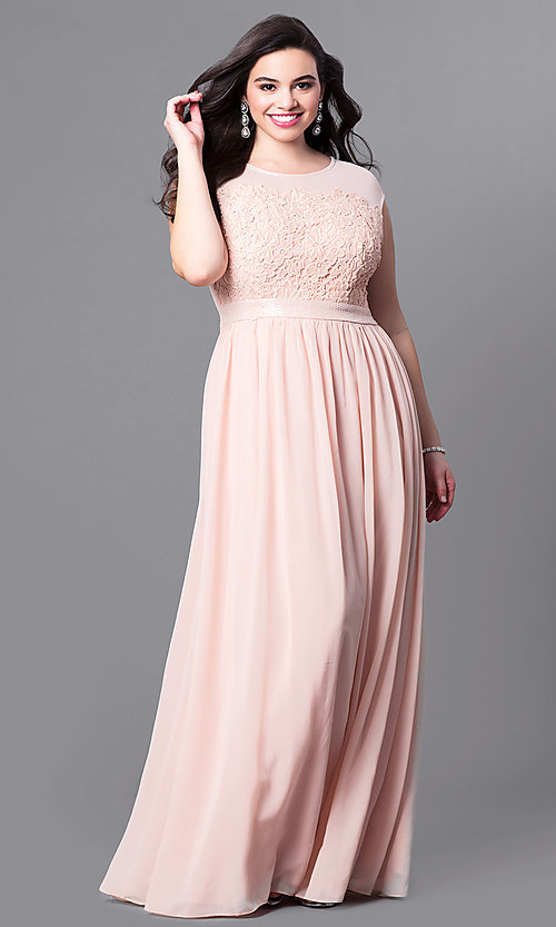 Image of long plus-size cap-sleeve prom dress with lace bodice. Style: LP-23397P Detail Image 3