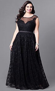 Plus-Size Long Lace Scoop-Neck Illusion Prom Dress
