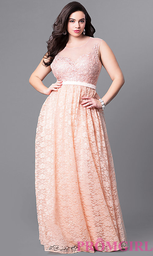Image of sweetheart illusion plus-size long prom dress in lace. Style: LP-24061P Detail Image 1