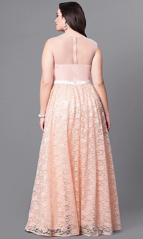 Image of sweetheart illusion plus-size long prom dress in lace. Style: LP-24061P Back Image