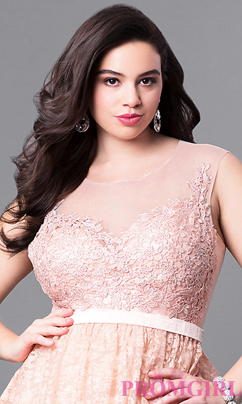 Image of sweetheart illusion plus-size long prom dress in lace. Style: LP-24061P Detail Image 2