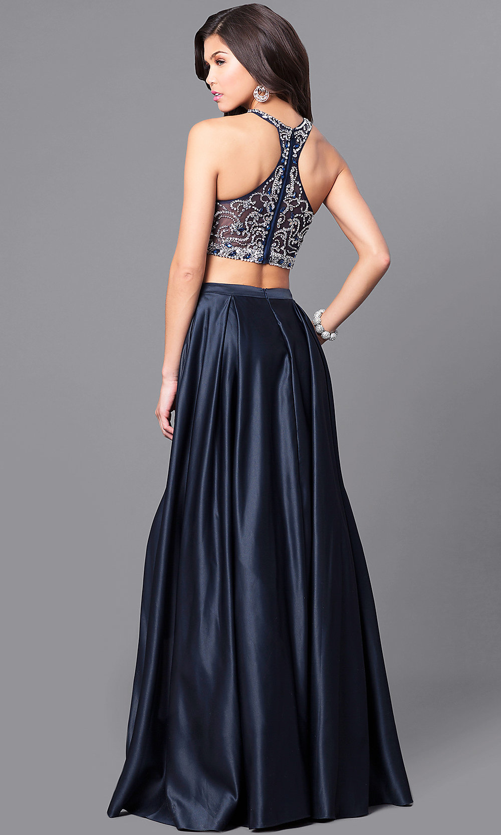 Long Navy Two Piece Prom Dress With Pockets Promgirl