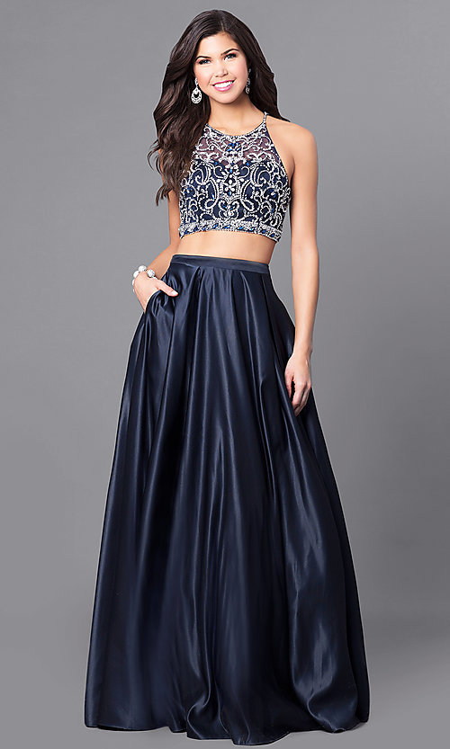 Image of navy two-piece satin long prom dress with pockets. Style: DQ-9832 Front Image