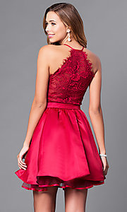 Image of short v-neck prom dress with lace-back bodice. Style: DQ-9836 Back Image