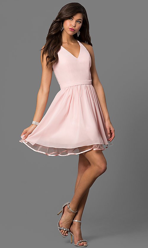 Short A-Line Party Dress with Lace - PromGirl