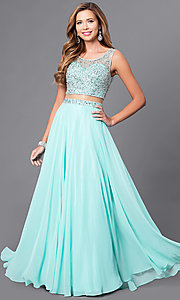 Long Mock Two-Piece Prom Dress with Embellished Top
