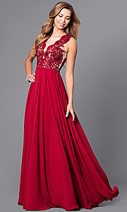 Deep Illusion V-Neck Prom Dress with Lace Bodice