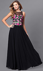 Mock Two-Piece Embroidered Bodice Long Prom Dress