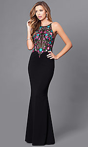 Long Embroidered Bodice Prom Dress