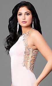 Image of long satin prom dress with embellished back. Style: DQ-9810 Detail Image 2