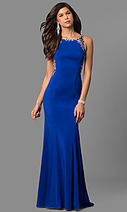 Image of long satin prom dress with embellished back. Style: DQ-9810 Detail Image 3
