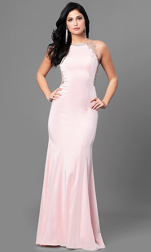 Image of long satin prom dress with embellished back. Style: DQ-9810 Front Image