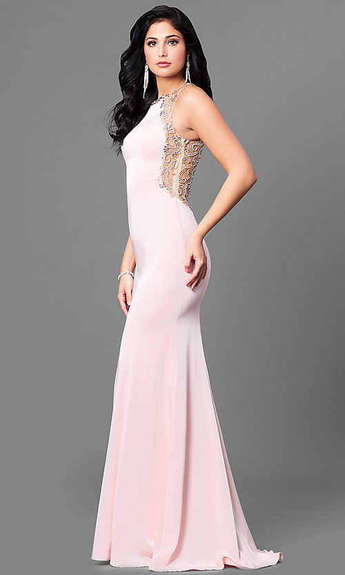 Image of long satin prom dress with embellished back. Style: DQ-9810 Detail Image 1