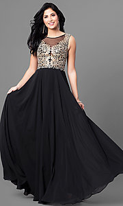 Long Prom Dress with Illusion V-Neck