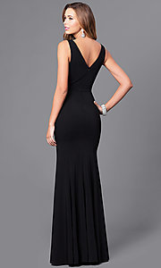 Image of long black prom dress with embroidered-rose appliques. Style: DQ-9828 Back Image