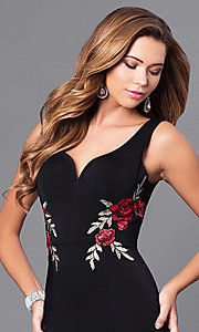 Image of long black prom dress with embroidered-rose appliques. Style: DQ-9828 Detail Image 1