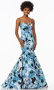 Long Blue Floral Print Strapless Prom Dress