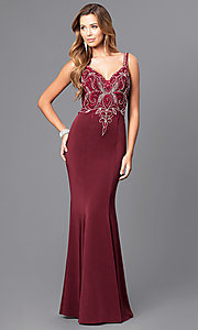 Long V-Neck Beaded Bodice Prom Dress