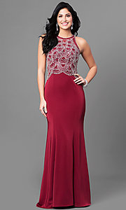 Embellished Bodice Long Prom Dress with Racerback
