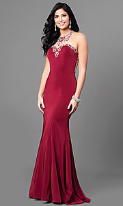Illusion Sweetheart Prom Dress with Embellished Bodice