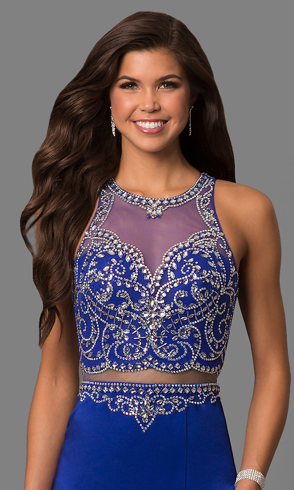 97aaa316 Embellished Long Illusion Prom Dress - PromGirl
