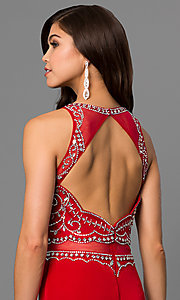 Image of mock two-piece prom dress with embellished bodice. Style: DQ-9700 Detail Image 1
