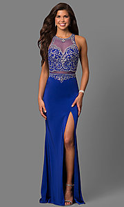 Image of mock two-piece prom dress with embellished bodice. Style: DQ-9700 Detail Image 2