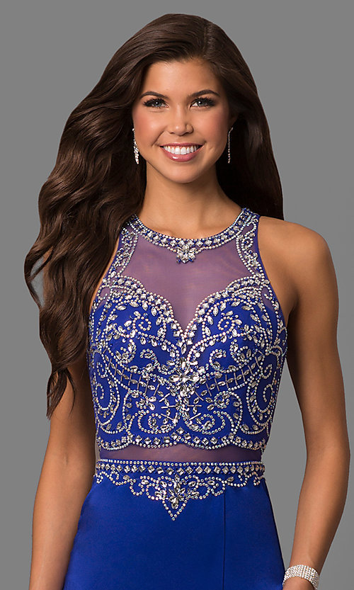 Image of mock two-piece prom dress with embellished bodice. Style: DQ-9700 Detail Image 3