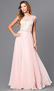 Image of long pastel prom dress with illusion-lace bodice. Style: DQ-9675 Front Image