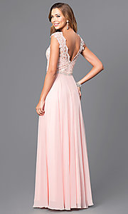 Image of long pastel prom dress with illusion-lace bodice. Style: DQ-9675 Back Image