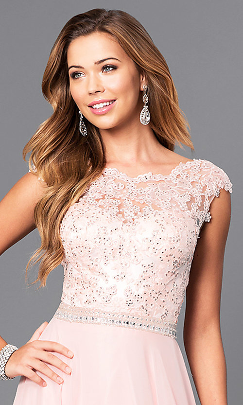 Image of long pastel prom dress with illusion-lace bodice. Style: DQ-9675 Detail Image 1