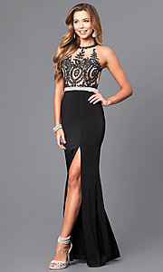 Image of lace illusion bodice long prom dress with high neck. Style: DQ-9702 Detail Image 1