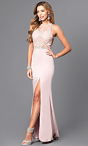 Image of lace illusion bodice long prom dress with high neck. Style: DQ-9702 Front Image