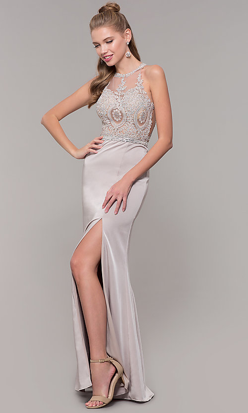 Image of lace illusion bodice long prom dress with high neck. Style: DQ-9702 Detail Image 4
