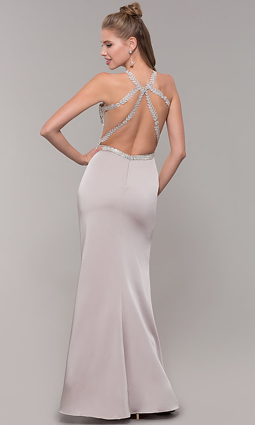 Image of lace illusion bodice long prom dress with high neck. Style: DQ-9702 Detail Image 5