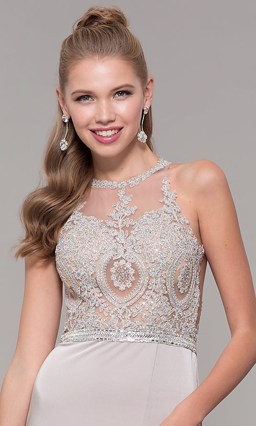 Image of lace illusion bodice long prom dress with high neck. Style: DQ-9702 Detail Image 6