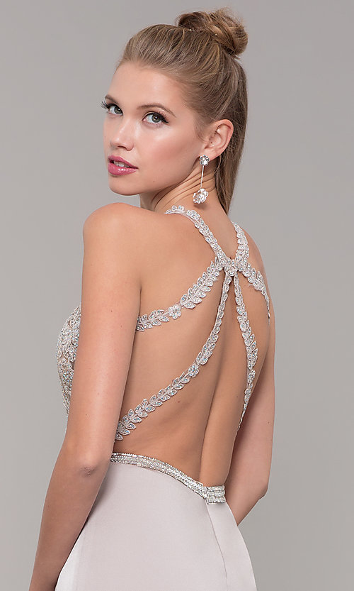 Image of lace illusion bodice long prom dress with high neck. Style: DQ-9702 Detail Image 7