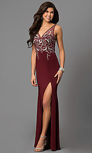 Image of v-neck long prom dress with beaded illusion bodice. Style: DQ-9704 Front Image