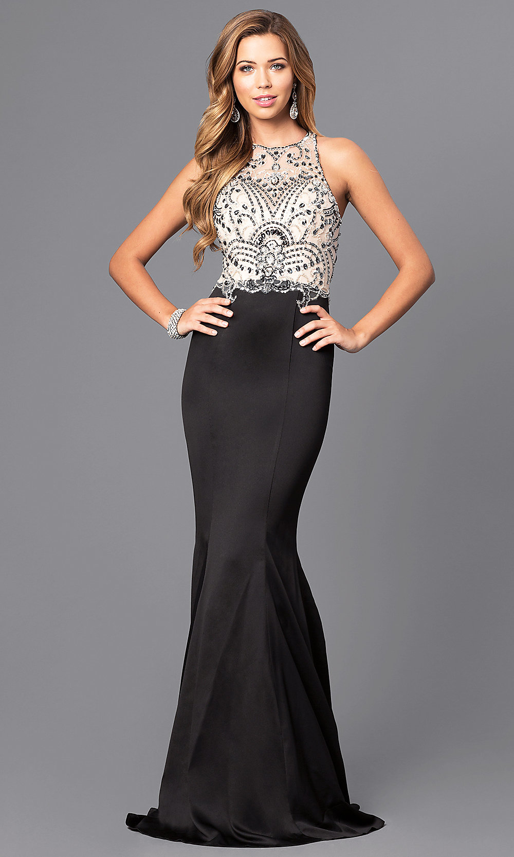 Satin Mermaid Prom Dress with Beaded Bodice-PromGirl