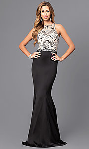 Image of long beaded-bodice prom dress with back cut outs. Style: DQ-9706 Detail Image 2