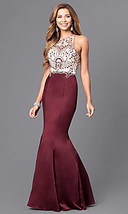 Image of long beaded-bodice prom dress with back cut outs. Style: DQ-9706 Front Image