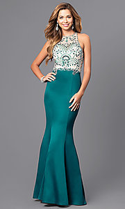 Image of long beaded-bodice prom dress with back cut outs. Style: DQ-9706 Detail Image 1