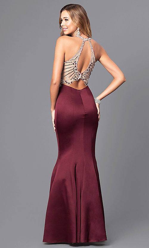 Image of long beaded-bodice prom dress with back cut outs. Style: DQ-9706 Back Image