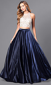 Image of two-piece long satin prom dress with jeweled bodice. Style: DQ-9716 Front Image