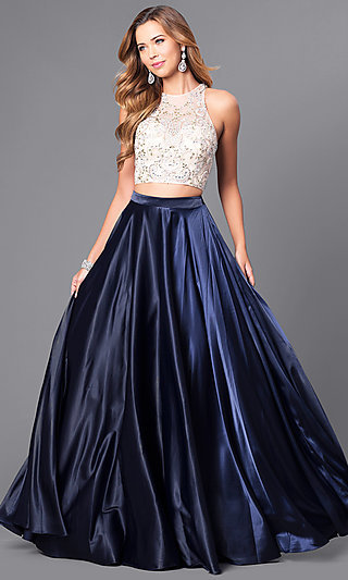 7964714d64e38 Jeweled-Bodice Satin Two-Piece Prom Dress - PromGirl