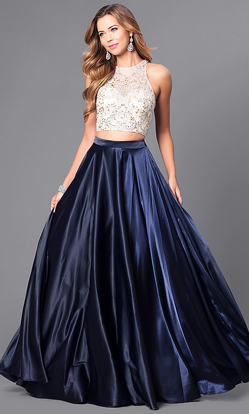 4fc3ec4ce4c61 Image of two-piece long satin prom dress with jeweled bodice. Style  DQ